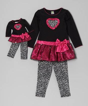 Pink Leopard Skirted Tunic Set & Doll Outfit - Girls