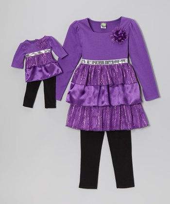 Purple & Black Tiered Tunic Set & Doll Outfit - Toddler & Girls