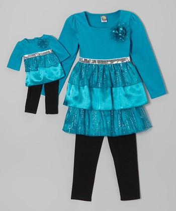 Teal & Black Tiered Tunic Set & Doll Outfit - Toddler & Girls