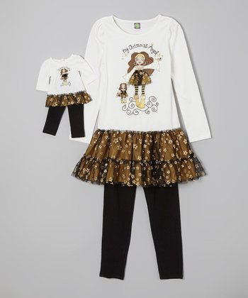 Black 'Christmas Angel' Tunic Set & Doll Outfit - Girls