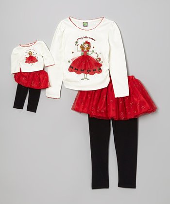 Red 'Merry' Skirted Leggings Set & Doll Outfit - Girls