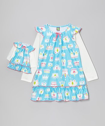 Blue & White Crown Nightgown & Doll Outfit - Girls