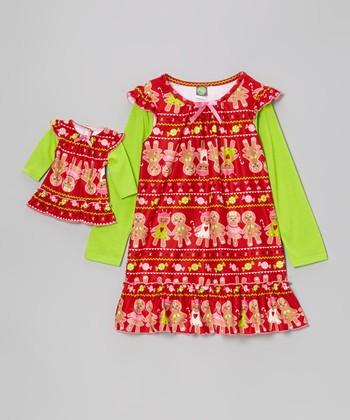 Red & Green Gingerbread Nightgown & Doll Outfit - Girls