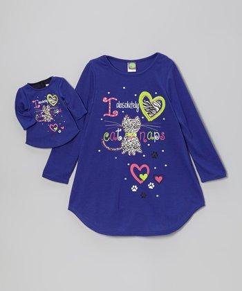 Blue 'Cat Naps' Nightgown & Doll Nightgown - Girls