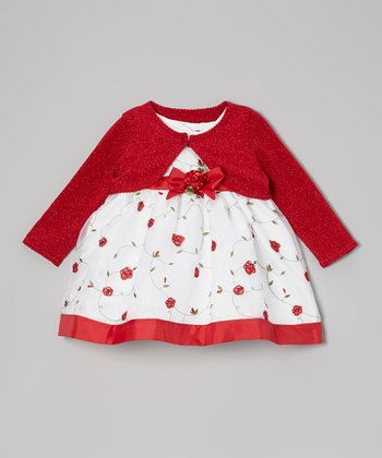 Red & White Floral Dress & Bolero - Infant