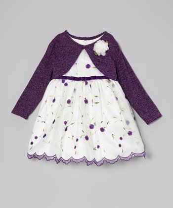 Purple & White Floral Dress & Bolero – Infant