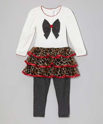 White & Red Leopard Tunic & Leggings - Infant, Toddler & Girls