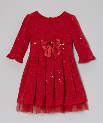 Red Glitter Knit Dress - Toddler & Girls