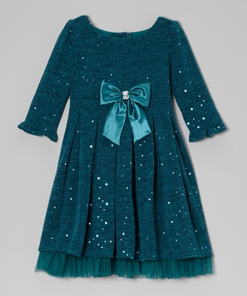 Teal Glitter Knit Dress - Toddler & Girls