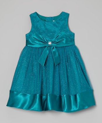 Teal Glitter Bow Dress - Toddler & Girls