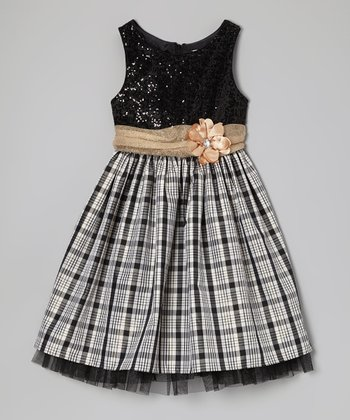 Black Plaid Occasion Dress - Girls