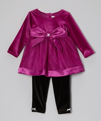 Berry Glitter Bow Tunic & Leggings - Infant