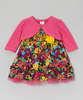 Fuchsia & Black Floral Dress & Bolero - Infant