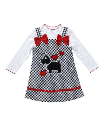 White Tee & Red Dog Plaid Dress - Infant, Toddler & Girls