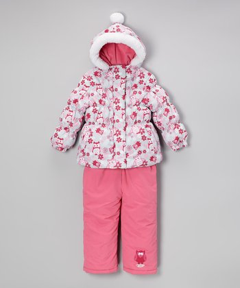 Strawberry Owl Puffer Coat & Bib Pants - Infant & Toddler