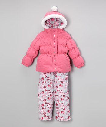 Strawberry Daisy Puffer Coat & Bib Pants - Toddler