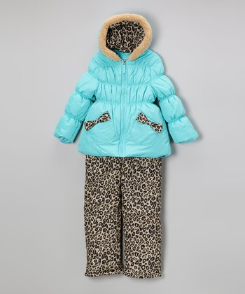 Turquoise Puffer Coat & Leopard Bib Pants - Toddler