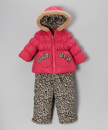 Fuchsia Puffer Coat & Leopard Bib Pants - Girls