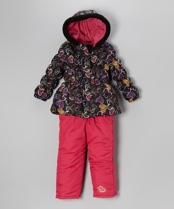 Black Heart Puffer Coat & Bib Pants - Infant
