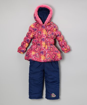 Fuchsia Heart Puffer Coat & Navy Bib Pants - Infant & Toddler