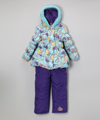 Turquoise Heart Puffer Coat & Bib Pants - Infant, Toddler & Kids
