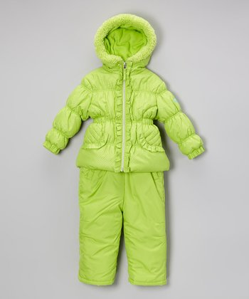 Lime Puffer Coat & Bib Pants - Infant, Toddler & Girls