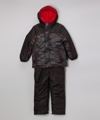 Black Camo Puffer Coat & Bib Pants - Toddler & Boys