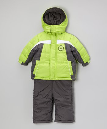 Lime Push Play Puffer Coat & Bib Pants - Kids