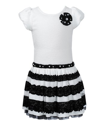 Ivory & Black Lace Stripe Puff Sleeve Dress - Girls