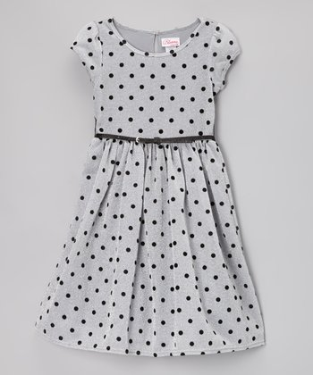 Gray Polka Dot Belted Dress - Girls
