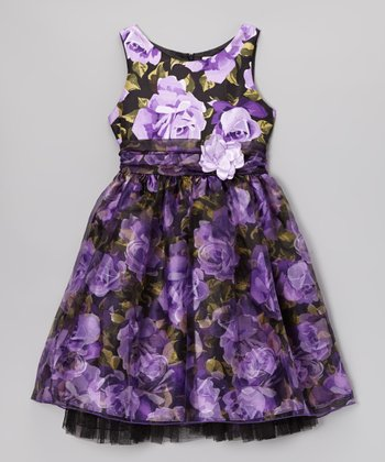 Purple Floral A-Line Dress - Girls