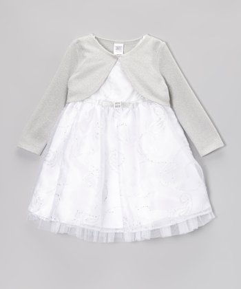 White Sparkle Bow Dress & Bolero - Infant