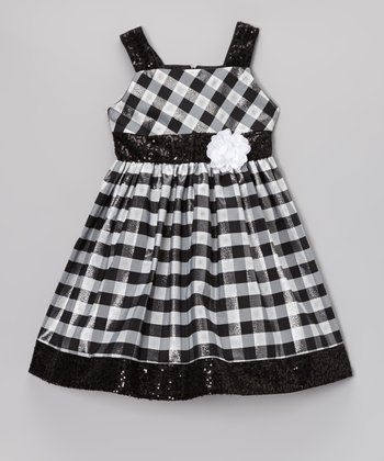 Black & White Sequin Buffalo Check Dress - Toddler & Girls