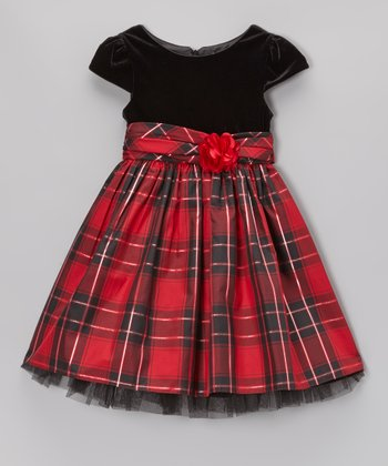 Red & Black Plaid Velvet Dress - Toddler & Girls