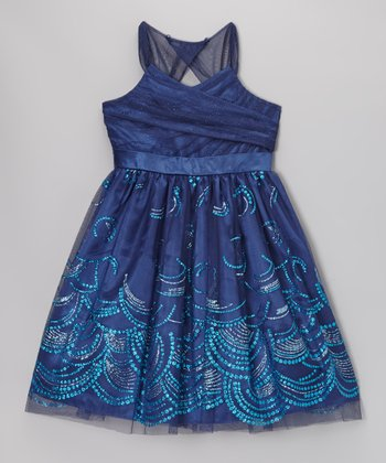 Teal Gathered Bodice Tulle Dress - Girls