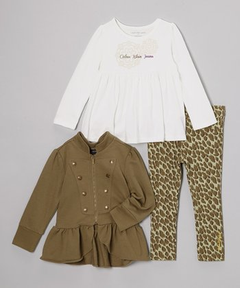 Olive & White Military Ruffle Jacket Set - Infant, Toddler & Girls