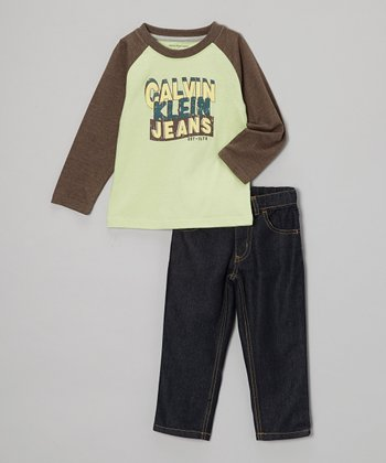 Brown 'Calvin Klein' Raglan Tee & Jeans - Infant, Toddler & Boys