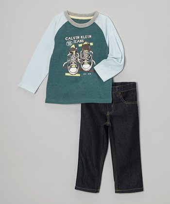 Green Sneaker Raglan Tee & Jeans - Toddler & Boys