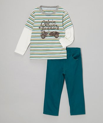Teal Stripe Racer Layered Tee & Pants - Toddler & Boys