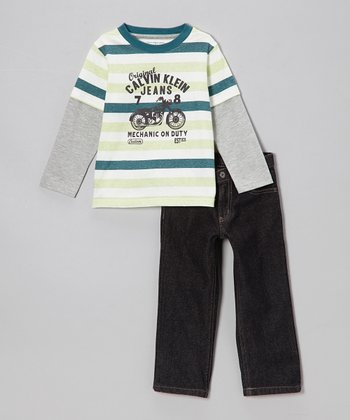Teal Stripe Layered Tee & Jeans - Infant, Toddler & Boys