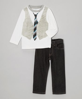 White Vest & Tie Tee & Jeans - Toddler & Boys