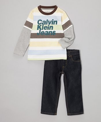White & Brown Stripe Layered Tee & Jeans - Infant, Toddler & Boys