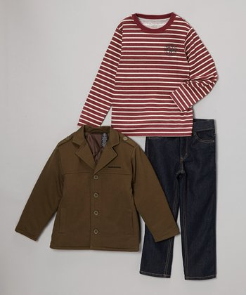 Olive & Red Stripe Jacket Set - Infant, Toddler & Boys