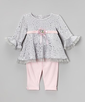 Pink & Gray Ruffle Tunic & Leggings - Infant