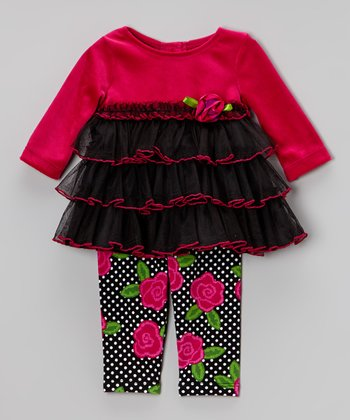 Fuchsia & Black Tunic & Floral Leggings - Infant