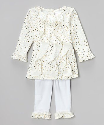 Cream Ruffle Polka Dot Tunic & Leggings - Infant
