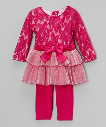 Fuchsia Bow Tunic & Leggings - Infant