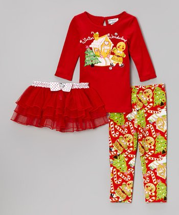 Red Holiday Tee Set - Toddler & Girls
