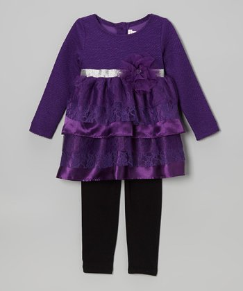 Purple Tunic & Black Leggings - Toddler & Girls