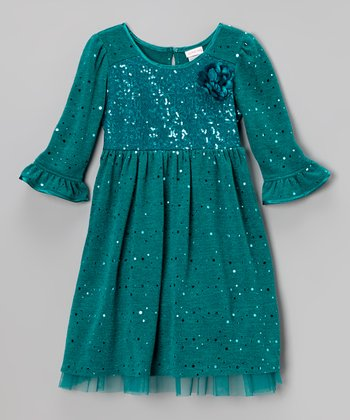Teal Sequin Bodice Dress - Toddler & Girls